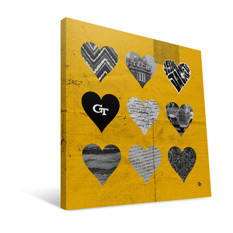 Georgia Tech Yellow Jackets Hearts Canvas Print