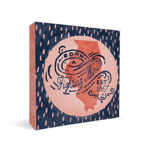 Illinois Fighting Illini Born a Fan Square Shelf Block