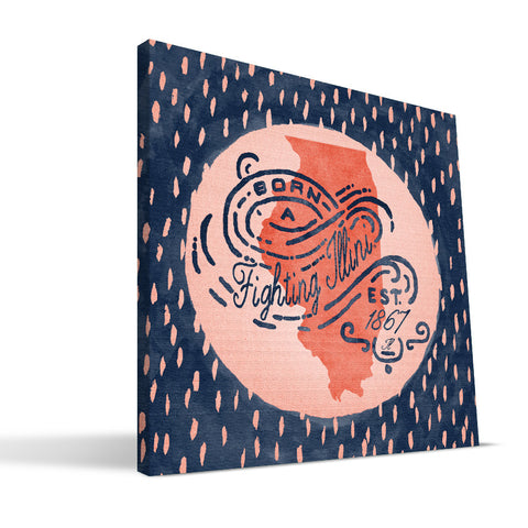 Illinois Fighting Illini Born a Fan Canvas Print