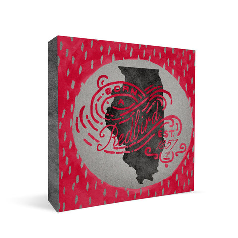 Illinois State Redbirds Born a Fan Square Shelf Block