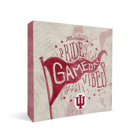 Indiana Hoosiers Gameday Vibes Square Shelf Block