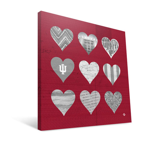 Indiana Hoosiers Hearts Canvas Print