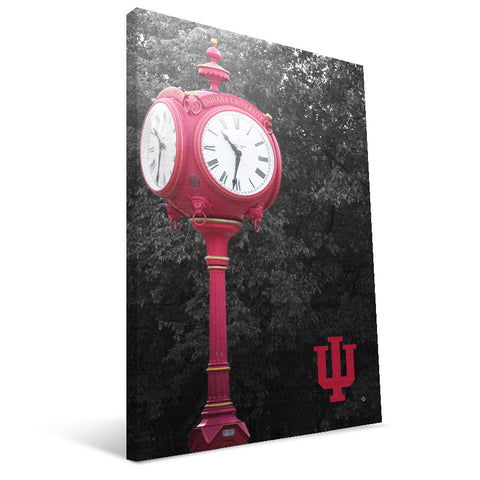 Indiana Hoosiers IU Clock Canvas Print