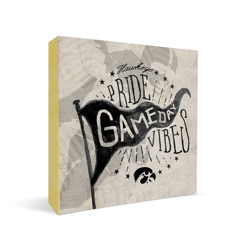 Iowa Hawkeyes Gameday Vibes Square Shelf Block