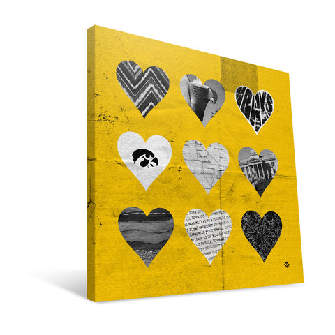Iowa Hawkeyes Hearts Canvas Print