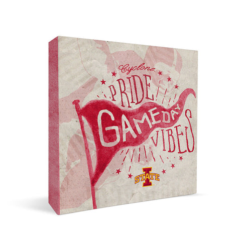 Iowa State Cyclones Gameday Vibes Square Shelf Block
