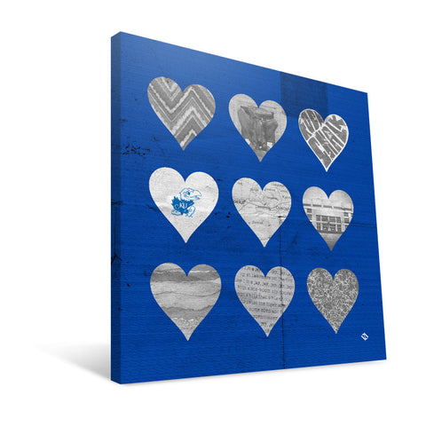 Kansas Jayhawks Hearts Canvas Print
