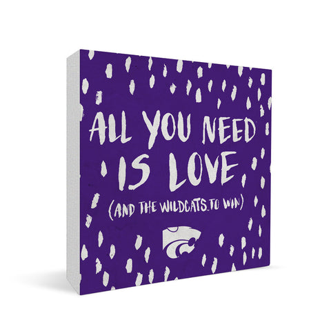 Kansas State Wildcats All You Need Square Shelf Block