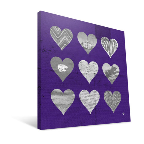 Kansas State Wildcats Hearts Canvas Print
