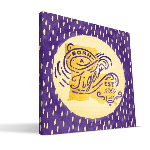 LSU Tigers Born a Fan Canvas Print