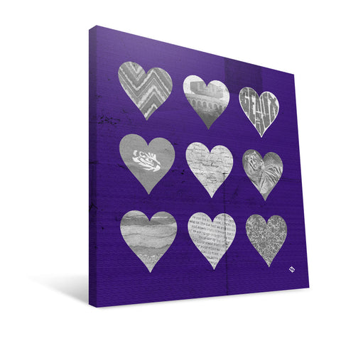 LSU Tigers Hearts Canvas Print