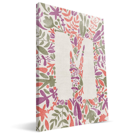 Flower Watercolor M-R Monogram Canvas Print