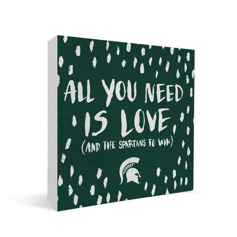 Michigan State Spartans All You Need Square Shelf Block