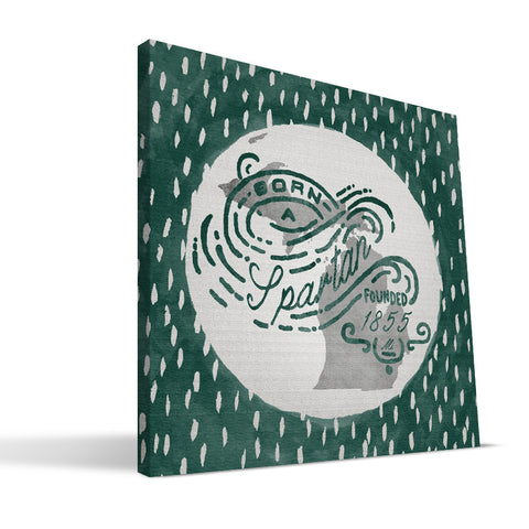 Michigan State Spartans Born a Fan Canvas Print