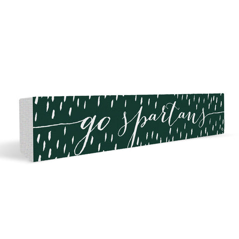 Michigan State Spartans Rally Cry Brush Mark Rectangular Shelf Block