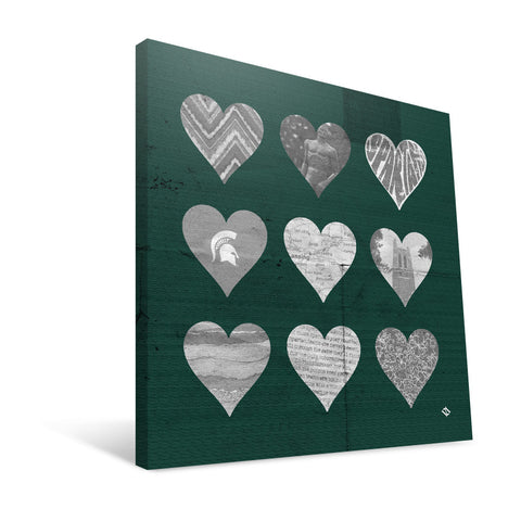 Michigan State Spartans Hearts Canvas Print