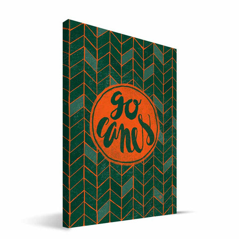 Miami Hurricanes Geometric Canvas Print