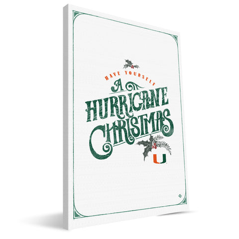 Miami Hurricanes Merry Little Christmas Canvas Print