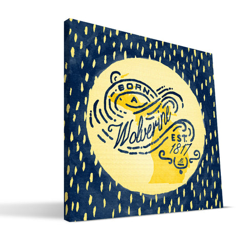 Michigan Wolverines Born a Fan Canvas Print