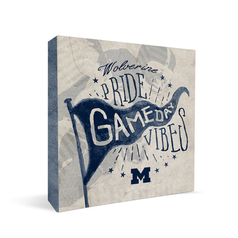 Michigan Wolverines Gameday Vibes Square Shelf Block