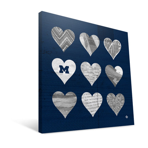 Michigan Wolverines Hearts Canvas Print