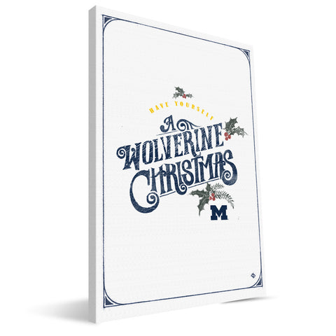 Michigan Wolverines Merry Little Christmas Canvas Print