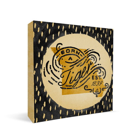 Missouri Tigers Born a Fan Square Shelf Block