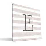 Stripe Watercolor A-F Monogram Canvas Print