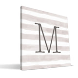 Stripe Watercolor M-R Monogram Canvas Print