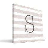 Stripe Watercolor S-Z Monogram Canvas Print