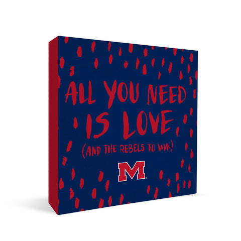 Ole Miss Rebels All You Need Square Shelf Block