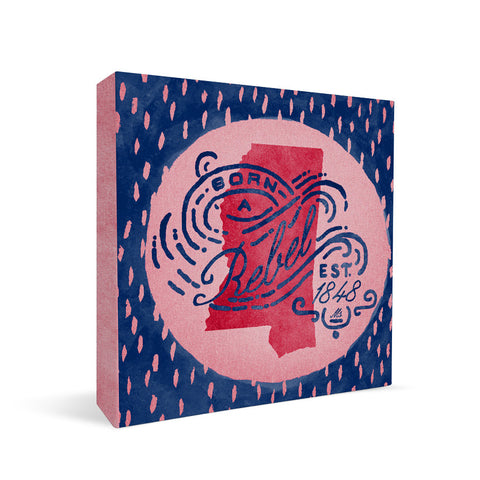 Ole Miss Rebels Born a Fan Square Shelf Block