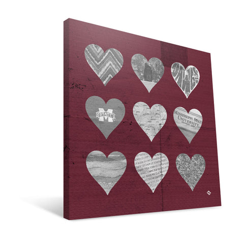 Mississippi State Bulldogs Hearts Canvas Print