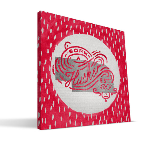 Nebraska Cornhuskers Born a Fan Canvas Print