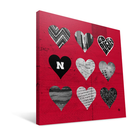 Nebraska Cornhuskers Hearts Canvas Print