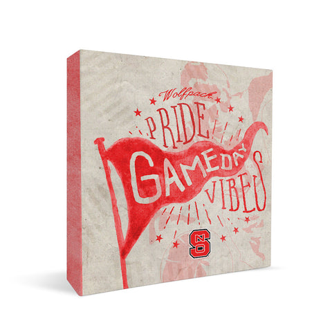 NC State Wolfpack Gameday Vibes Square Shelf Block