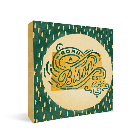 North Dakota State Bisons Born a Fan Square Shelf Block