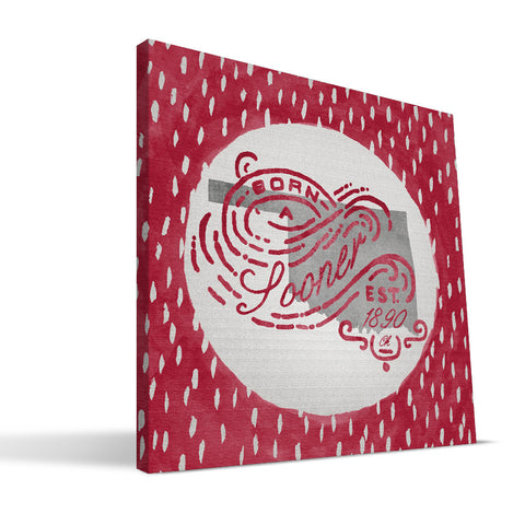 Oklahoma Sooners Born a Fan Canvas Print