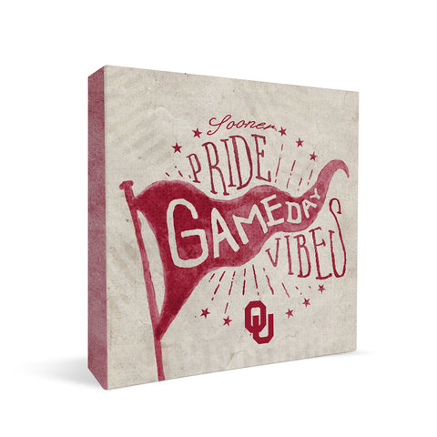 Oklahoma Sooners Gameday Vibes Square Shelf Block