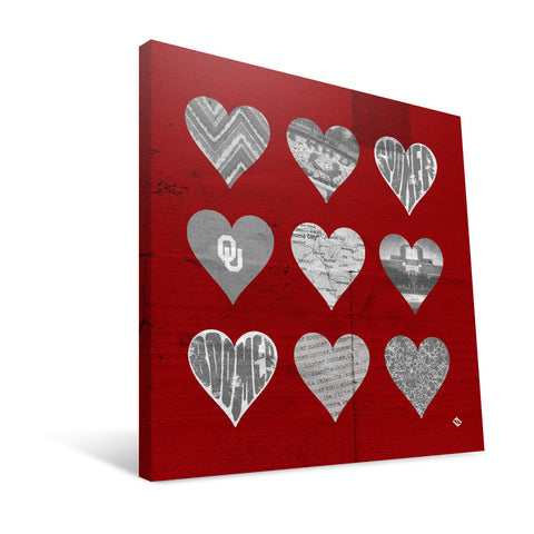 Oklahoma Sooners Hearts Canvas Print