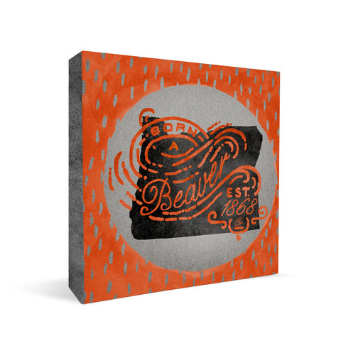 Oregon State Beavers Born a Fan Square Shelf Block