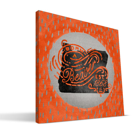 Oregon State Beavers Born a Fan Canvas Print