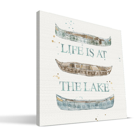 Outdoors 12x12 Life Is At The Lake Canvas Print