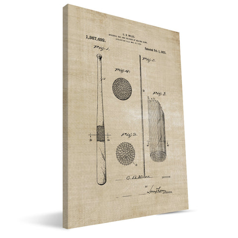 Baseball Bat Patent Canvas Print