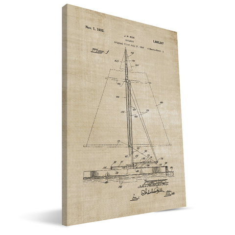 Sailboat Patent Canvas Print