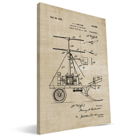 Dual-Blade Helicopter Patent Canvas Print