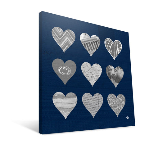 Penn State Nittany Lions Hearts Canvas Print