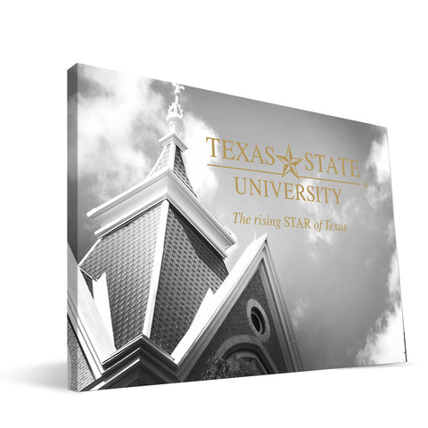 Texas State Bobcats Old Main Black and White Canvas Print