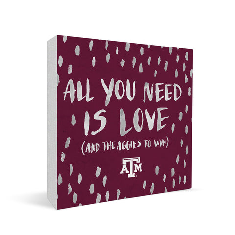 Texas A&M Aggies All You Need Square Shelf Block