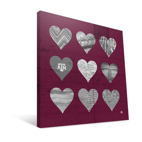 Texas A&M Aggies Hearts Canvas Print